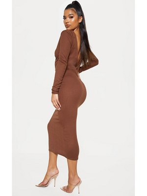PrettyLittleThing chocolate brown rib popper front plunge midi dress