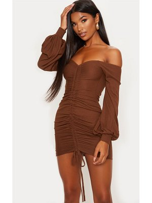 PrettyLittleThing chocolate brown ribbed bardot balloon sleeve ruched bodycon dress