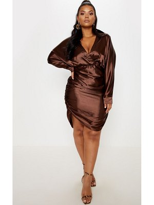 PrettyLittleThing chocolate brown ruched side midi dress