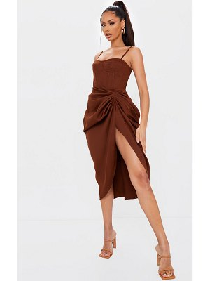 PrettyLittleThing chocolate brown ruched side midi skirt