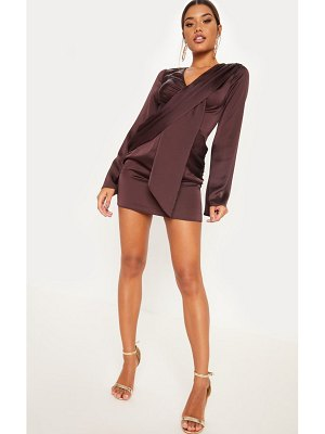 fb5aeded2744 PrettyLittleThing Chocolate Brown Satin Bardot Tie Waist Shift Dress ...