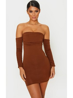 PrettyLittleThing chocolate brown slinky ruched bodice bardot sleeve bodycon dress