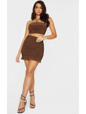 PrettyLittleThing chocolate brown slinky ruched side frill panel hem mini skirt