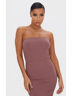 PrettyLittleThing chocolate brown soft ribbed bandeau bodysuit