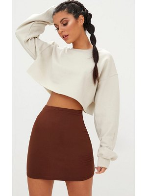 PrettyLittleThing chocolate brown ultimate jersey mini skirt