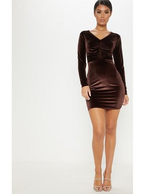 PrettyLittleThing chocolate brown velvet ruched front mini dress