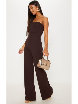 PrettyLittleThing chocolate drape one shoulder jumpsuit