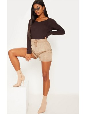 PrettyLittleThing chocolate jersey v neck long sleeve top