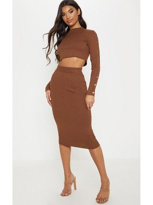 PrettyLittleThing chocolate knitted midi skirt