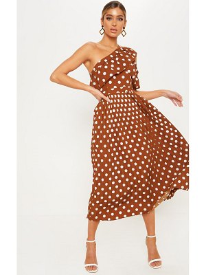 PrettyLittleThing chocolate polka dot one shoulder ruffle detail pleated midi dress