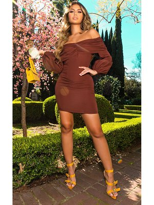 PrettyLittleThing chocolate puff sleeve ruched bardot bodycon dress