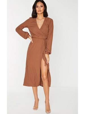 PrettyLittleThing chocolate rib tie waist long sleeve maxi dress