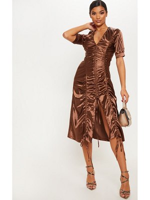 PrettyLittleThing chocolate satin ruched midaxi dress