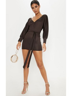 PrettyLittleThing chocolate wrap front tie jersey dress
