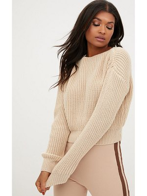 PrettyLittleThing christiana mixed knit slash neck crop sweater