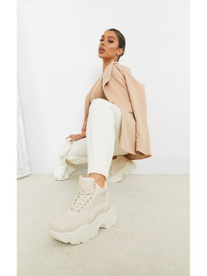 PrettyLittleThing chunky cleated sole high top faux fur lined sneakers