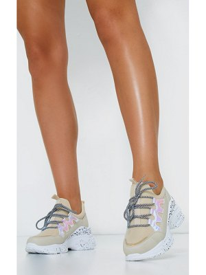 PrettyLittleThing chunky detail sole contrast lace sneakers
