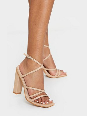 PrettyLittleThing chunky heel strappy square toe heeled sandals