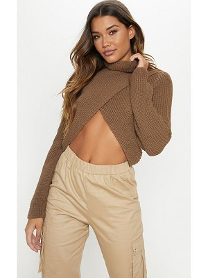 PrettyLittleThing chunky knitted roll neck wrap sweater