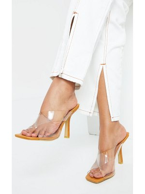 PrettyLittleThing clear cross over twin strap square toe mule heels