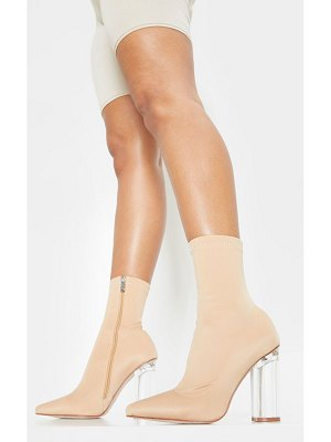 PrettyLittleThing clear high heel sock boot