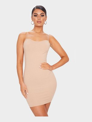PrettyLittleThing clear strap ribbed scoop back bodycon dress