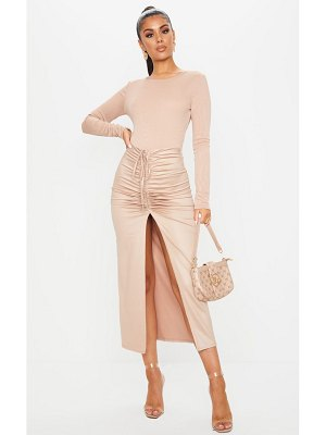 PrettyLittleThing coated ruched split front midaxi skirt
