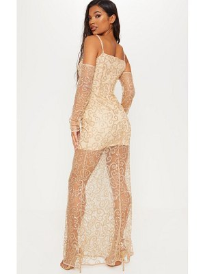 PrettyLittleThing cold shoulder glitter swirl mesh maxi dress