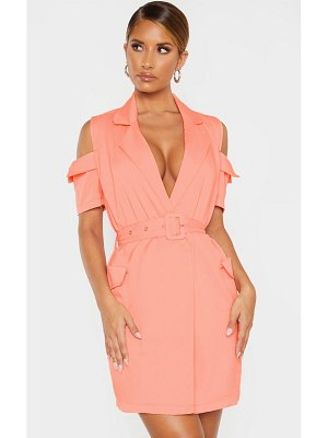 PrettyLittleThing cold shoulder utility blazer dress