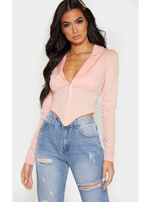 PrettyLittleThing collar detail long sleeve cropped shirt