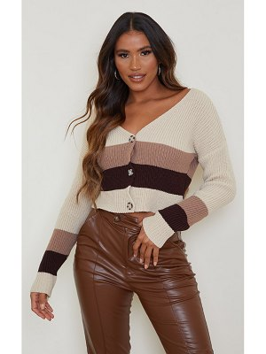 PrettyLittleThing colour block ribbed button up cardigan
