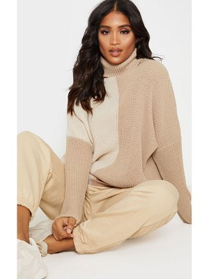PrettyLittleThing colour block roll neck oversized sweater