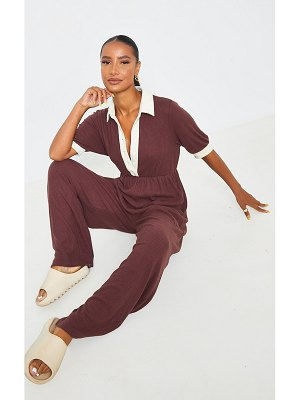 PrettyLittleThing contrast collar brushed rib shirt jumpsuit