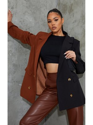 PrettyLittleThing contrast oversized double breasted covered button blazer