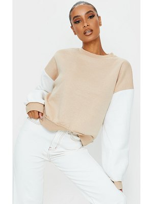PrettyLittleThing contrast sleeve oversized sweater