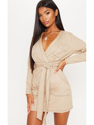 PrettyLittleThing contrast stitching utility bodycon dress