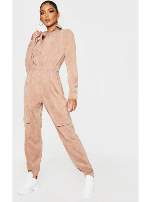 PrettyLittleThing cord button front shirt jumpsuit