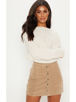 PrettyLittleThing cord cammie button through skirt