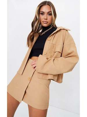 PrettyLittleThing cord detail button front cropped jacket