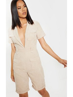 PrettyLittleThing cord pocket detail plunge playsuit