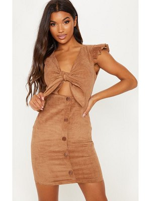 PrettyLittleThing cord tie front detail pleated sleeve mini dress
