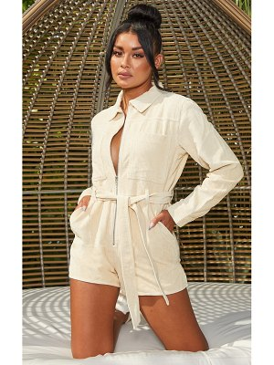 PrettyLittleThing cord zip long sleeve detail romper