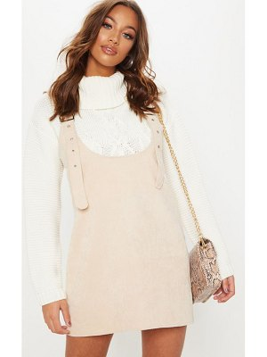 PrettyLittleThing corduroy buckle front skater pinafore dress
