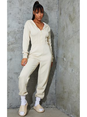 PrettyLittleThing corset detail hooded sweat jumpsuit