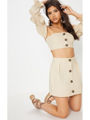 PrettyLittleThing cotton button detail mini skirt