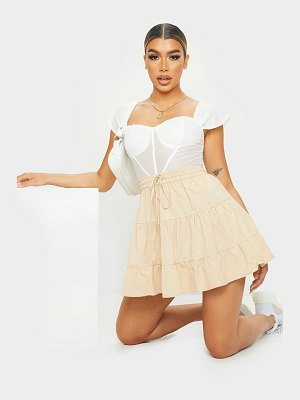 PrettyLittleThing cotton drawstring tiered skater skirt