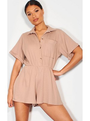 PrettyLittleThing cotton waffle short sleeve shirt romper
