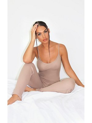 PrettyLittleThing cotton waffle strappy jumpsuit