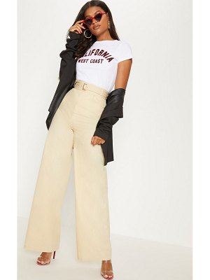 PrettyLittleThing cream belted waist wide leg pants