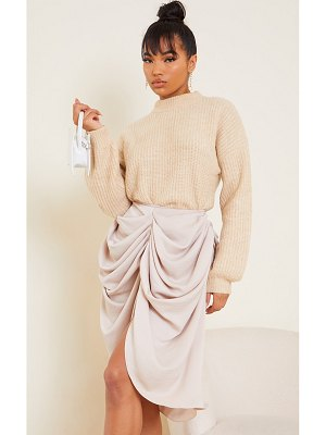 PrettyLittleThing woven draped midi skirt